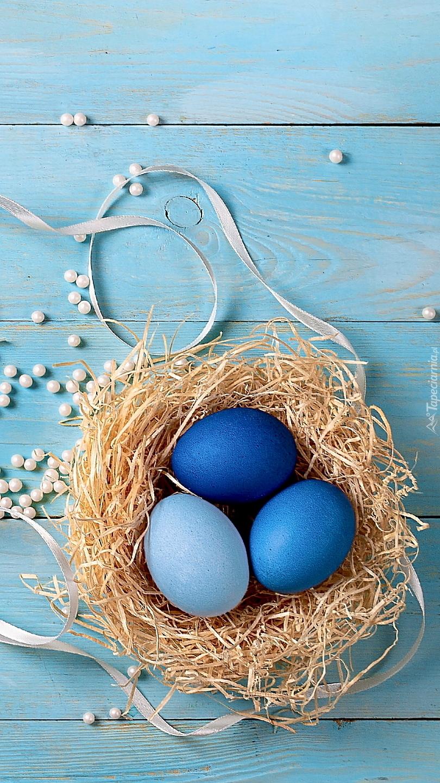 Niebieskie pisanki w gniazdku