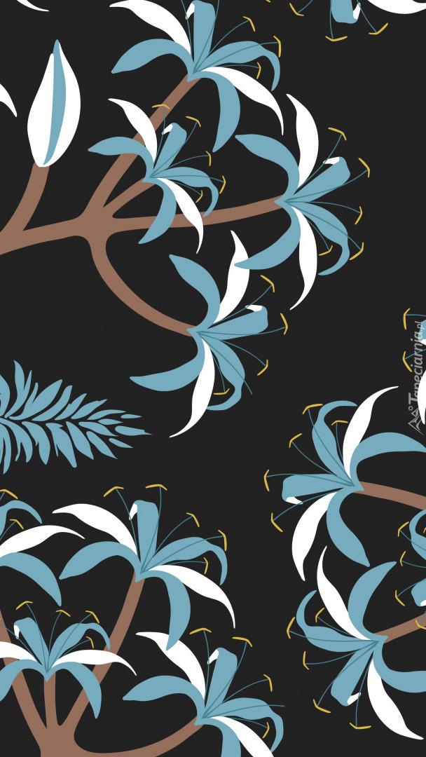 Niebiesko-białe kwiaty i liście