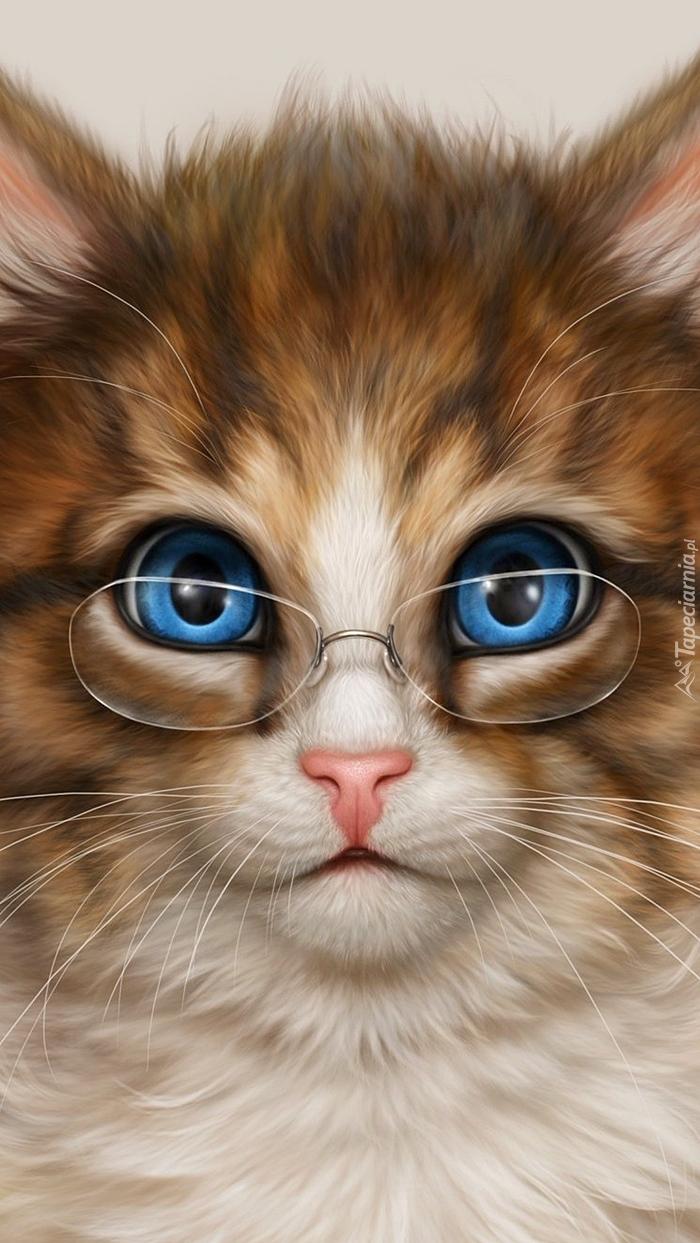 Niebieskooki Kot W Okularach Tapeta Na Telefon