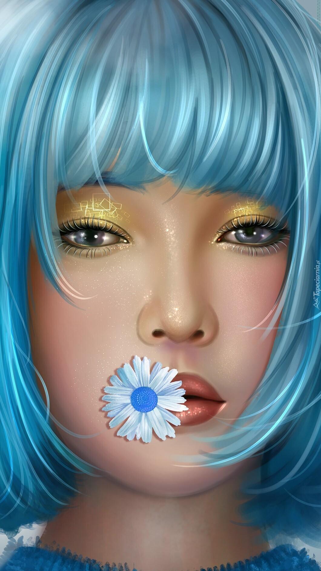 Niebieskowłosa dziewczyna