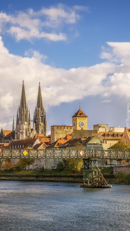 Niemieckie miasto Ratyzbona nad Dunajem