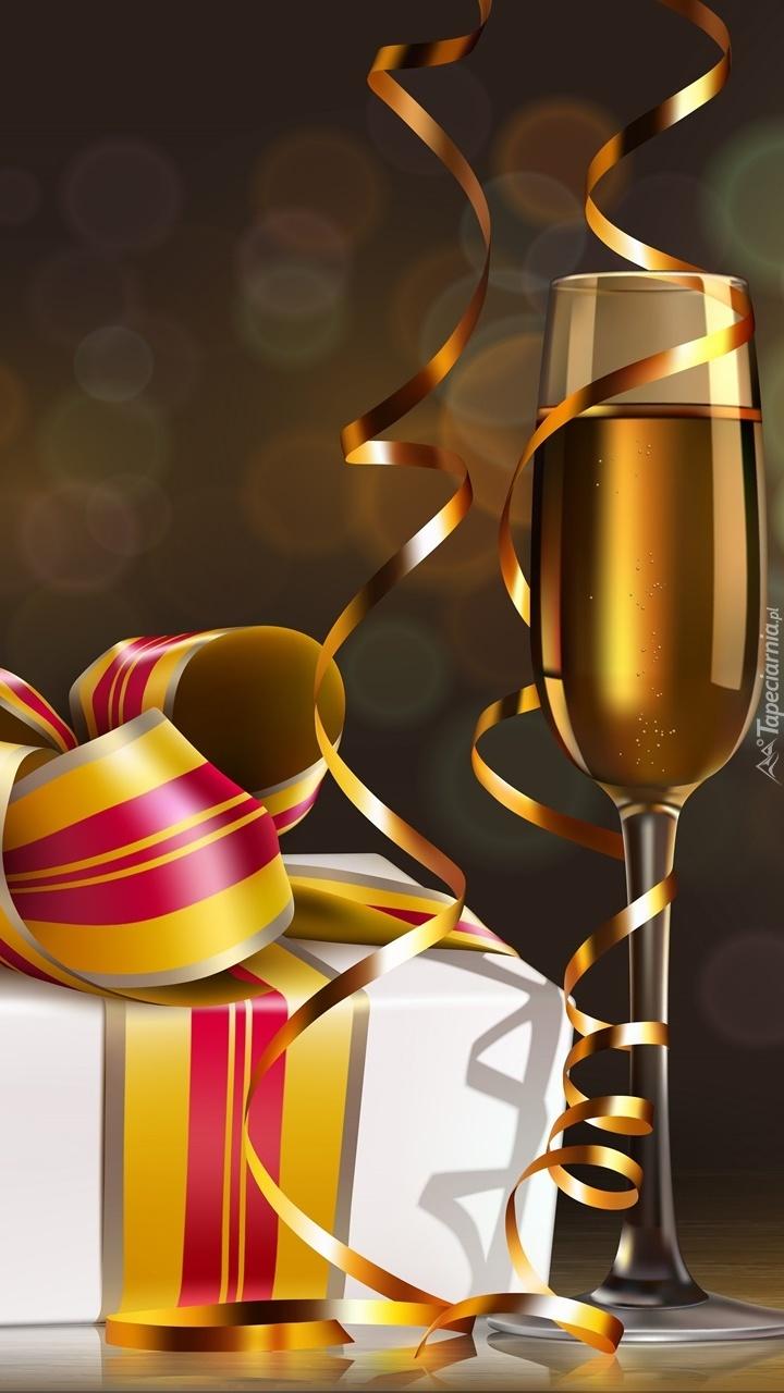 Noworoczna lampka szampana z prezentem