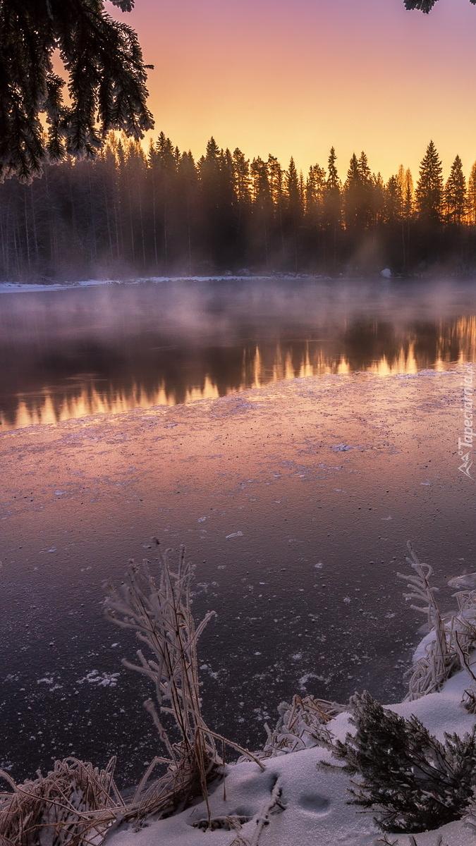 Oblodzone jezioro we mgle