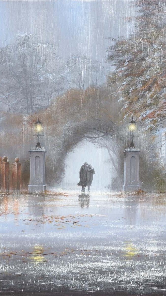 Obraz pary w deszczu