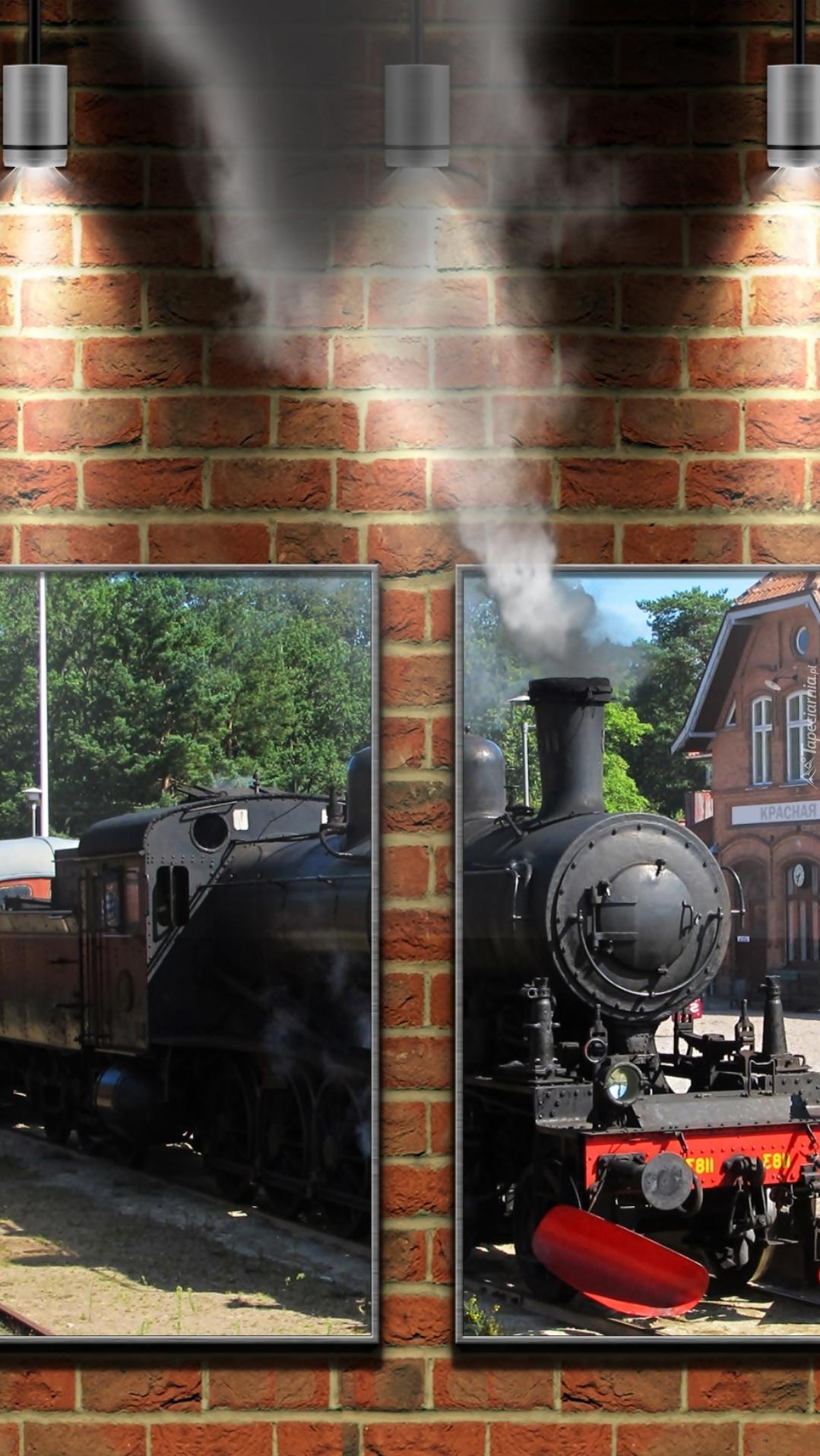 Obraz pociągu na murze