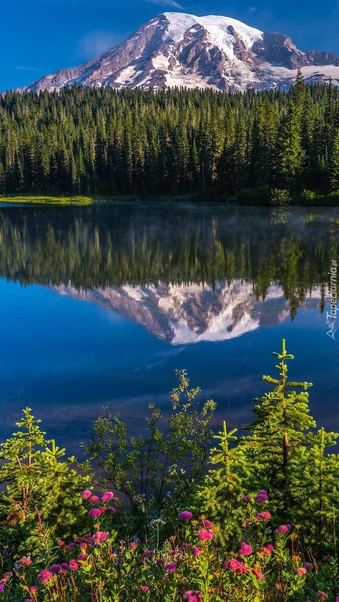 Odbicie góry w jeziorze Reflection Lake