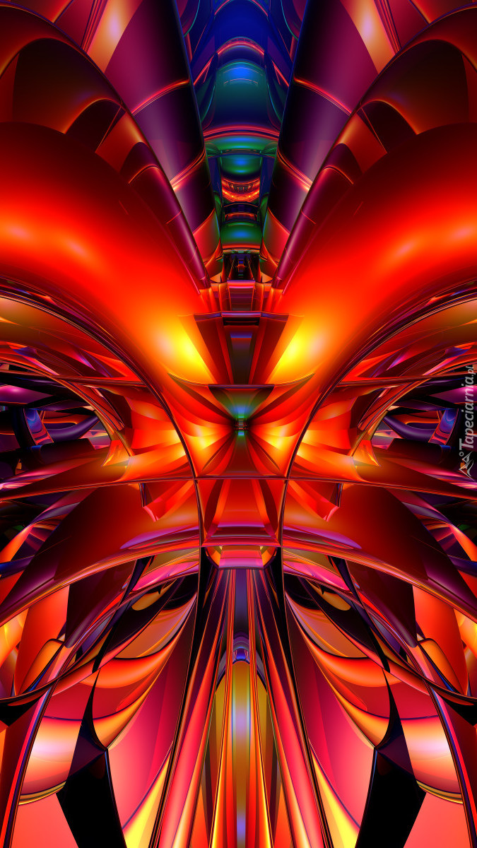 Ognistoczerwona abstrakcja w grafice 3D