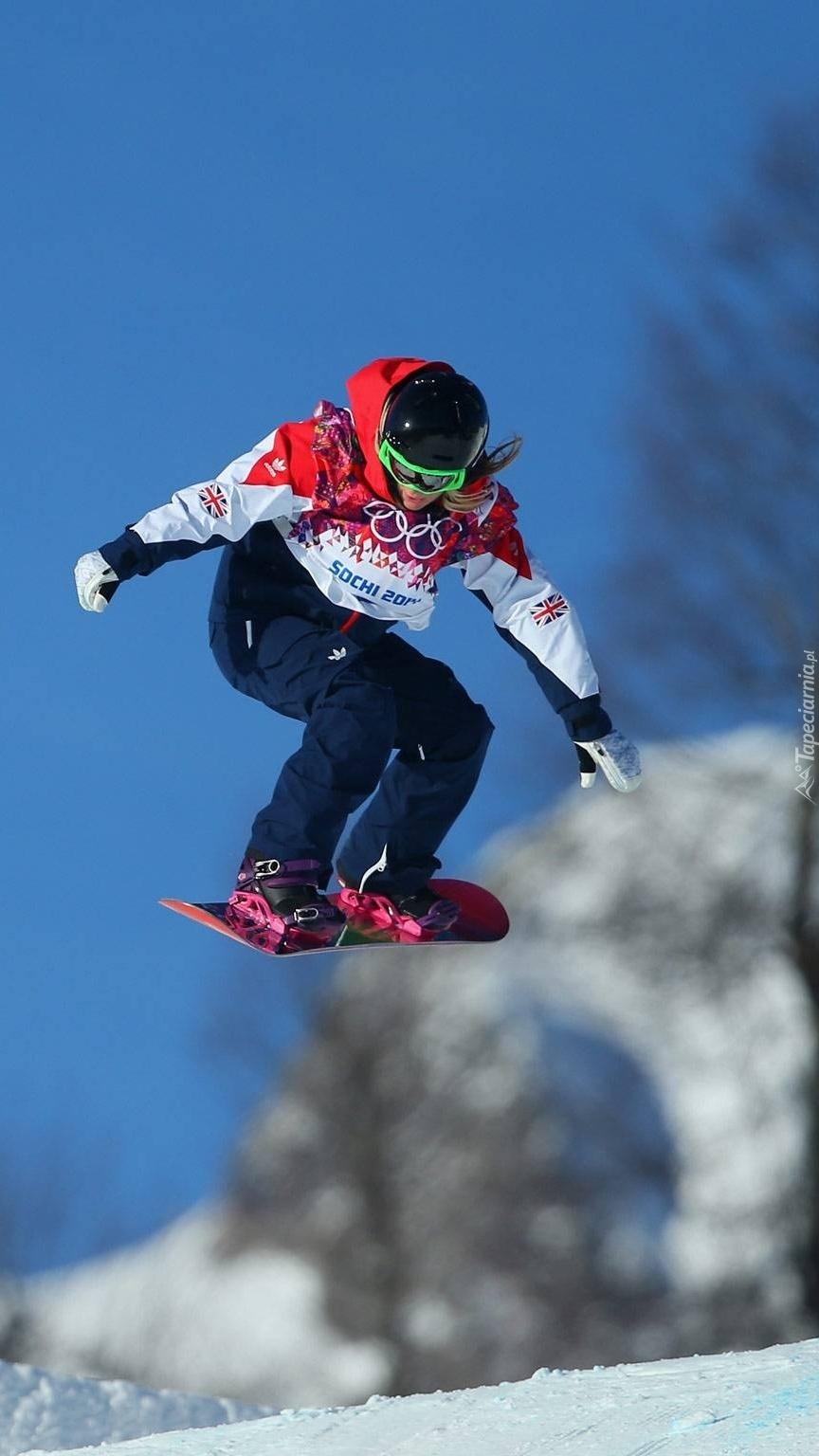 Olimpijka Jenny Jones na desce snowboardowej
