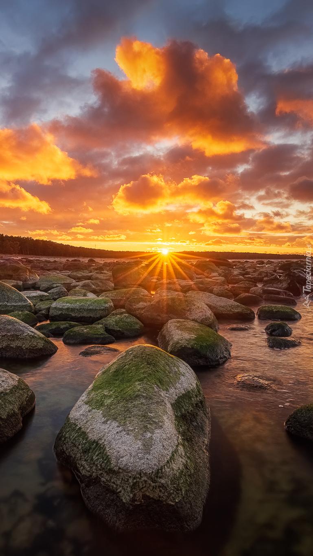 Omszałe kamienie w blasku zachodzącego słońca