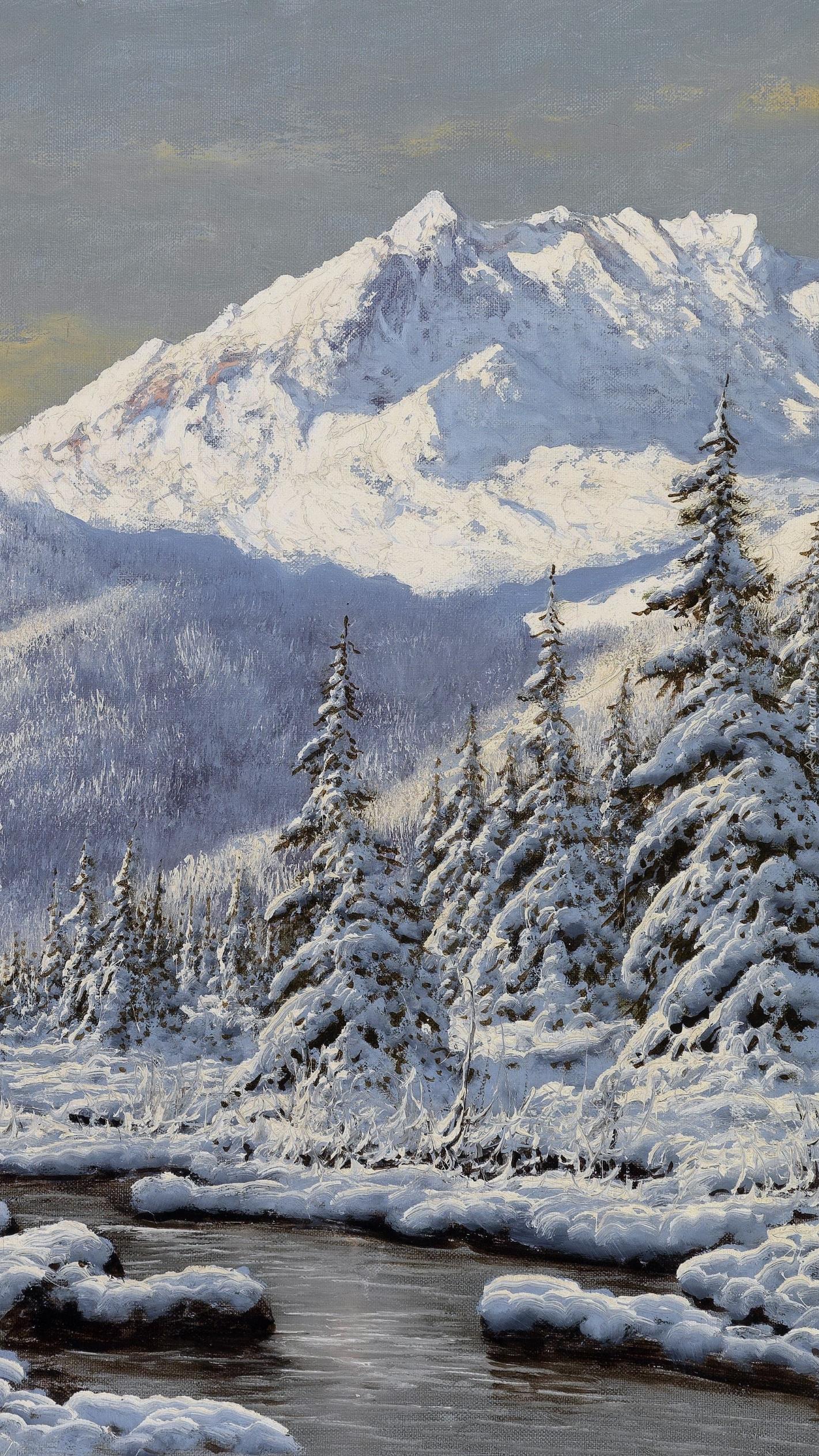 Ośnieżone drzewa i góry nad rzeczką