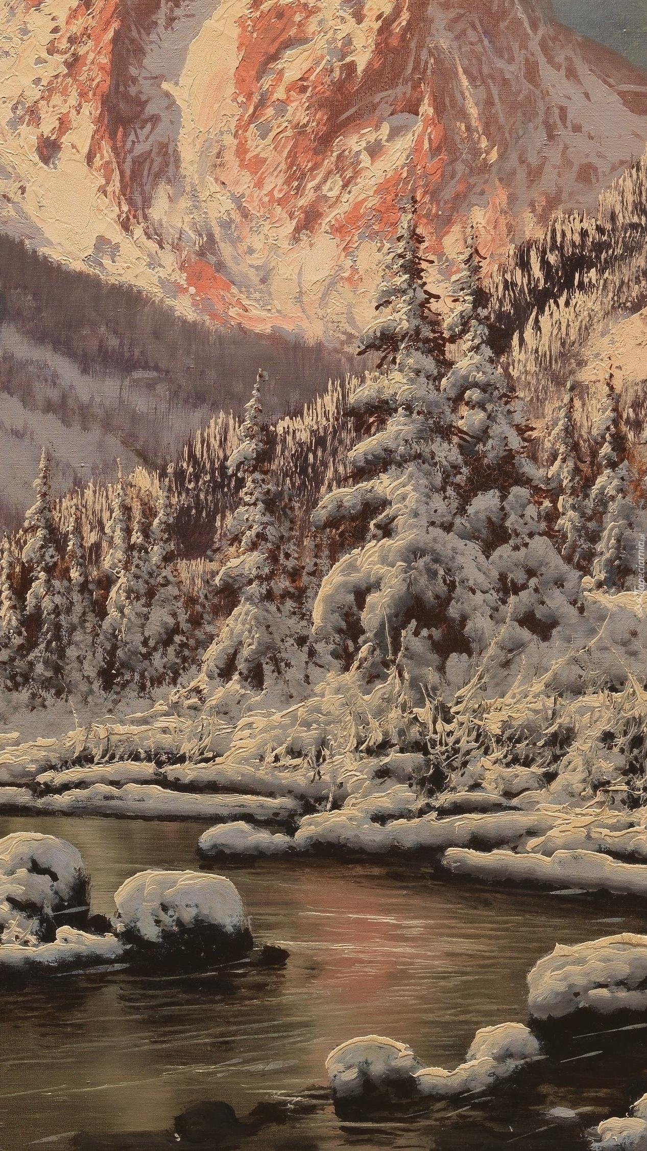 Ośnieżone góry i świerki nad rzeką