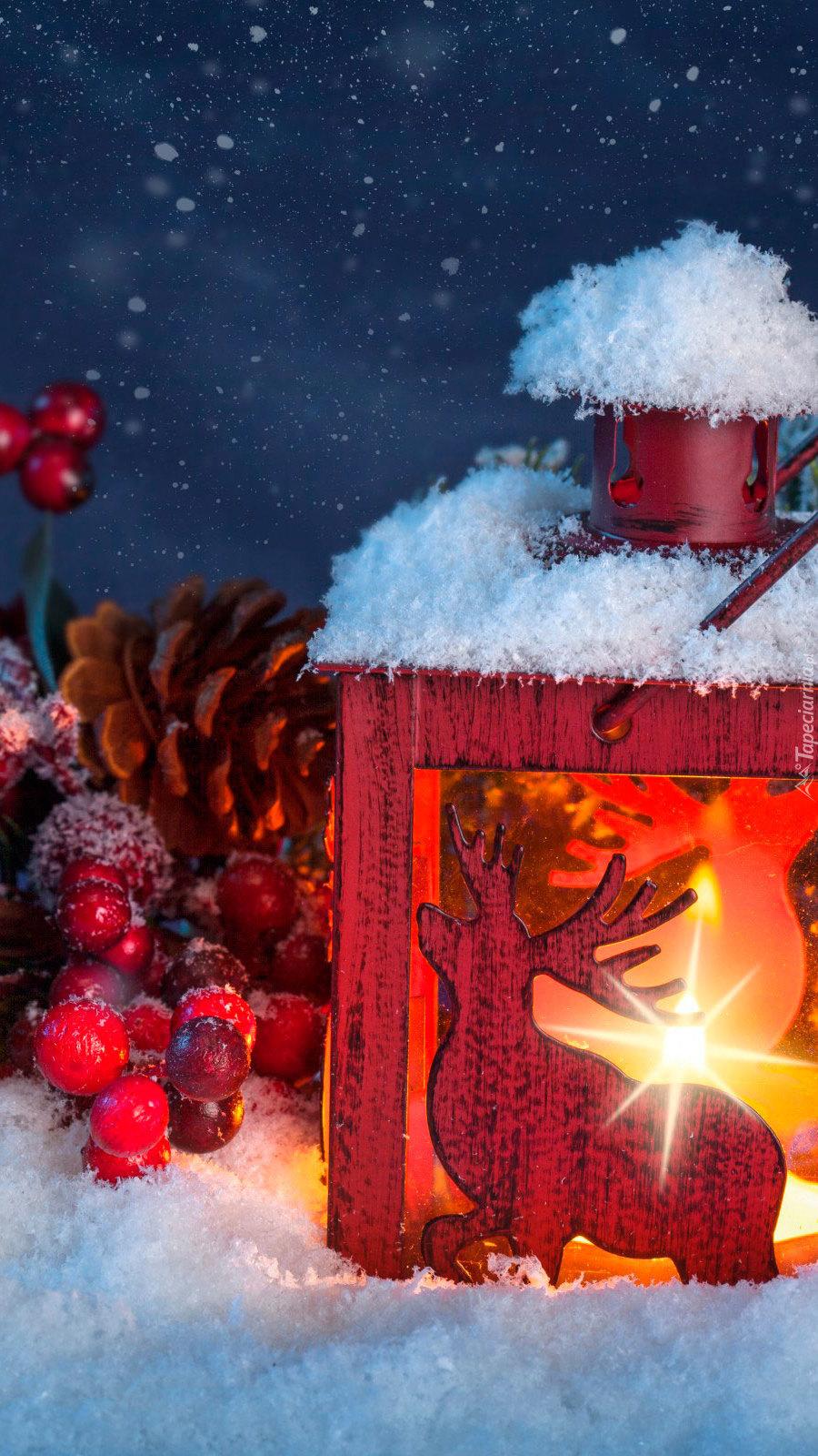Ośnieżony świąteczny lampion