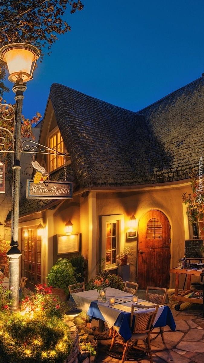 Oświetlona restauracja