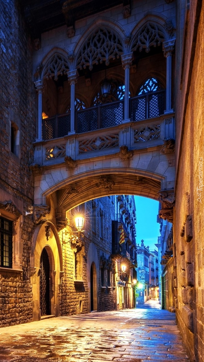 Oświetlona uliczka Carrer del Bisbe