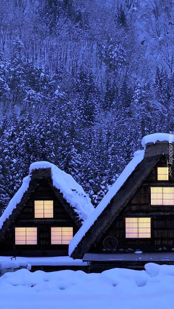 Oświetlone domki