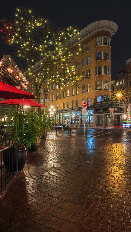 Oświetlone drzewo obok budynku Flatiron w Vancouver