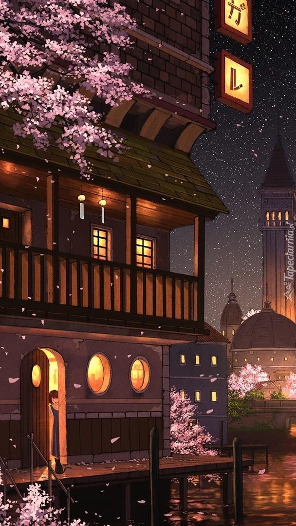 Oświetlony dom w grafice
