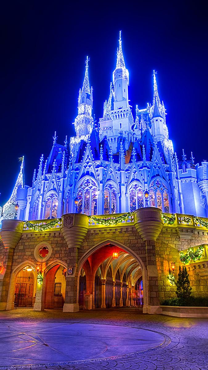 Oświetlony zamek Cinderella Castle