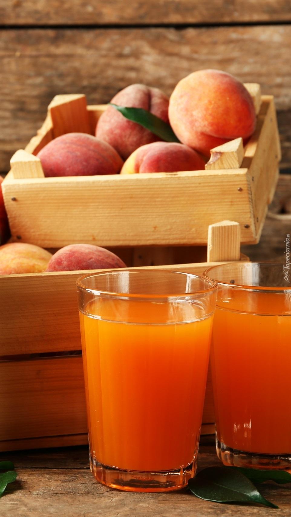 Owoce i sok brzoskwiniowy