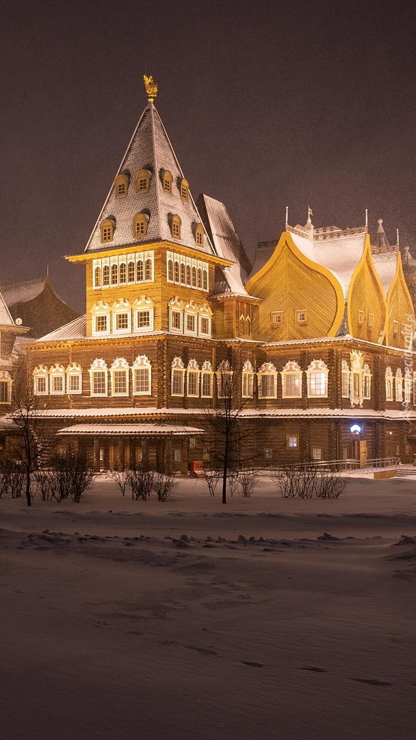 Pałac cara Aleksieja Michajłowicza zimową porą