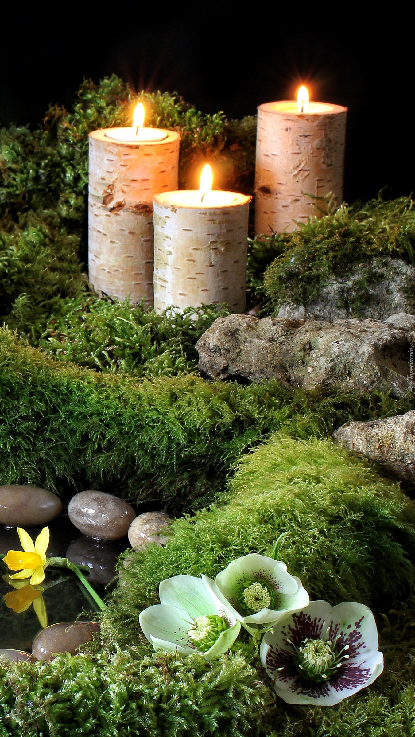 Palące się świece nad sadzawką
