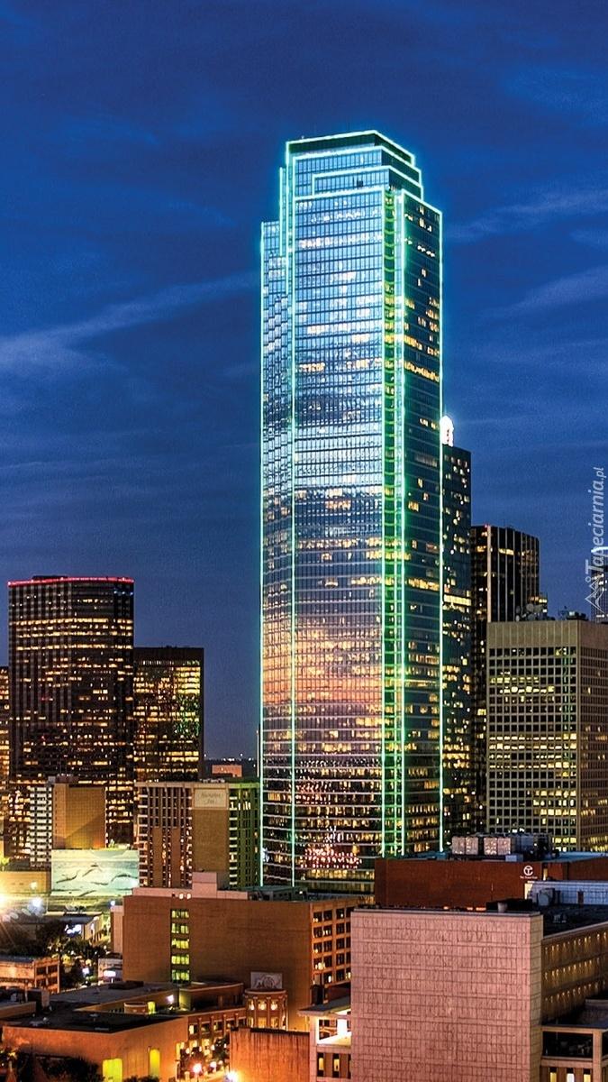 Panorama Dallas nocą