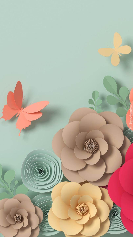 Papierowe kwiaty i motyle
