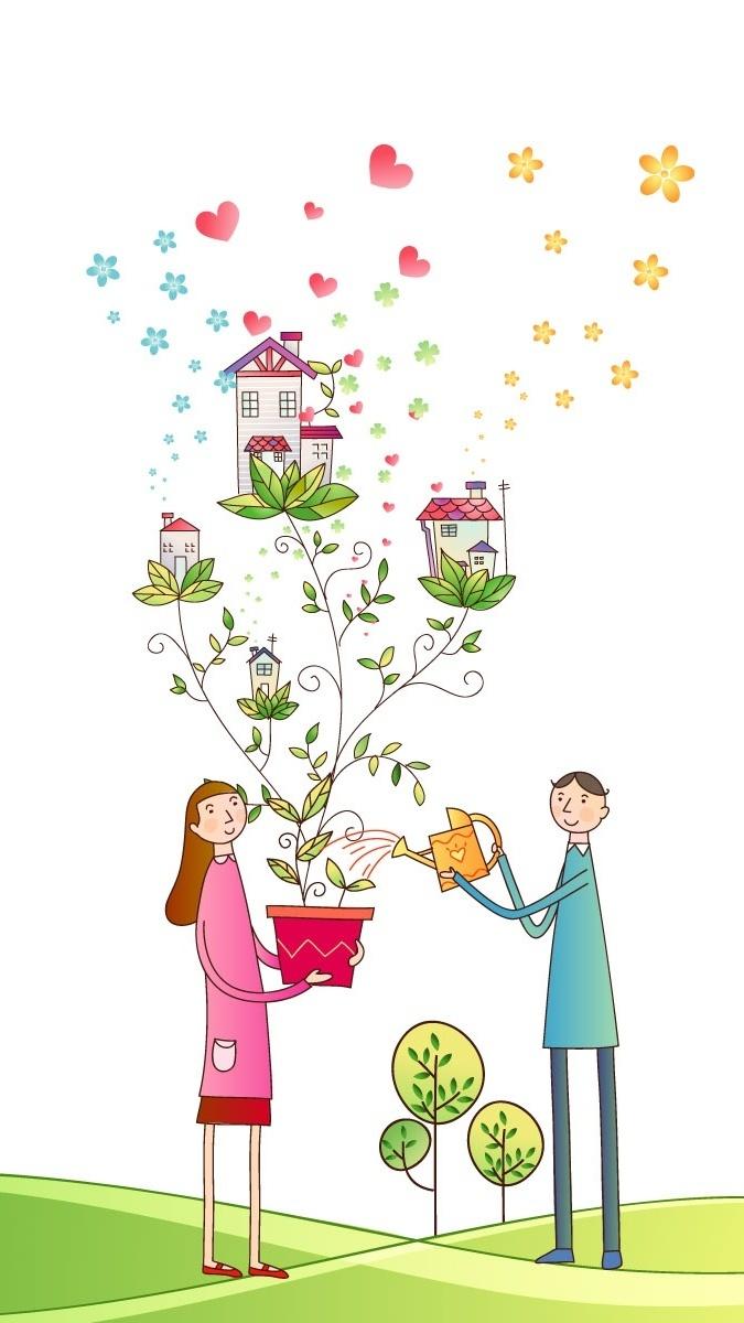 Para zakochanych podlewa roślinę