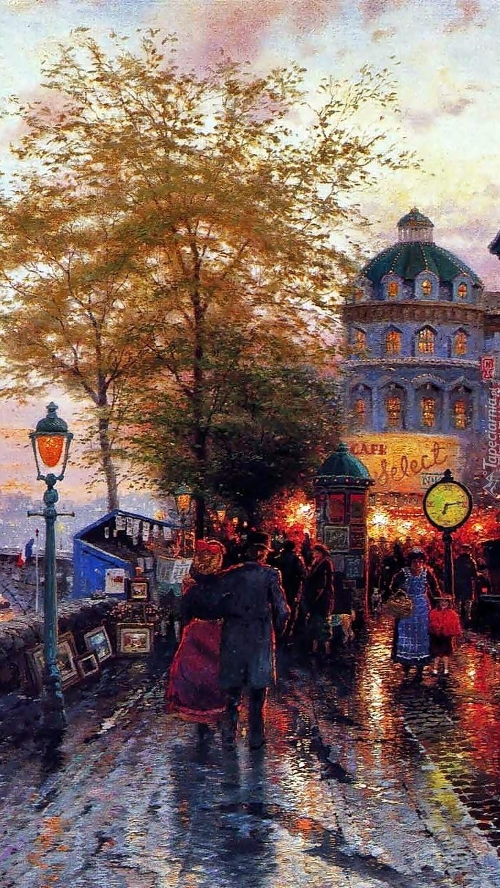 Paryska ulica na obrazie Thomasa Kinkadea