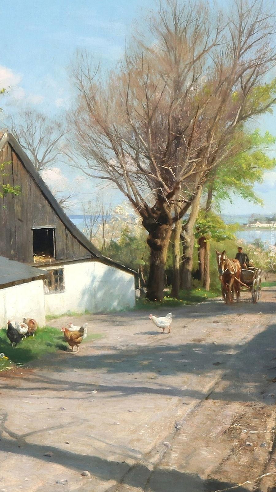 Pejzaż wiejski z wozem i koniem