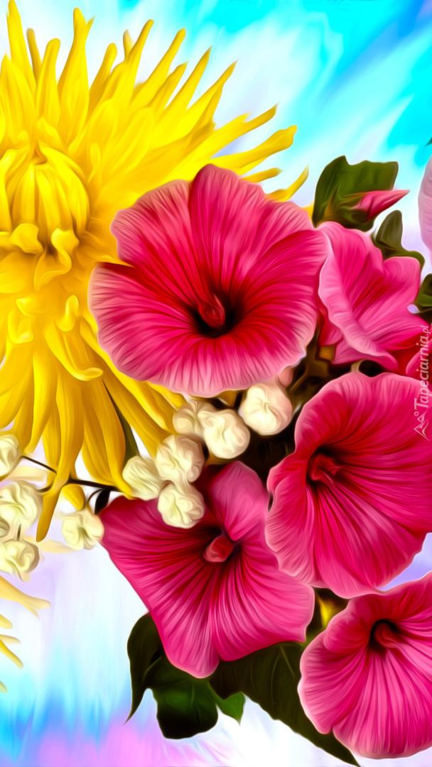 Petunie i żółta chryzantema