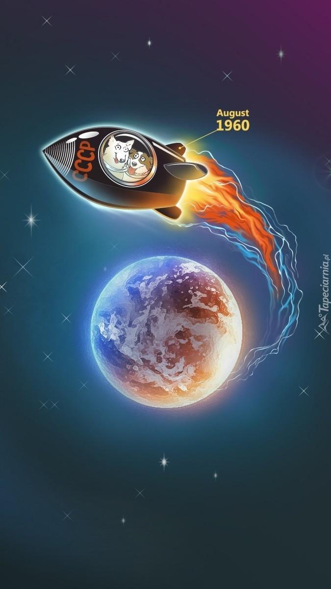 Pieski w rakiecie lecące w kosmos