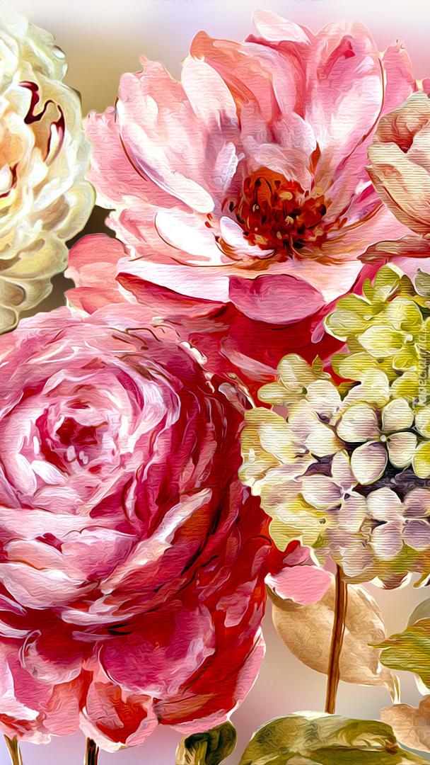 Piwonie i tulipany w grafice