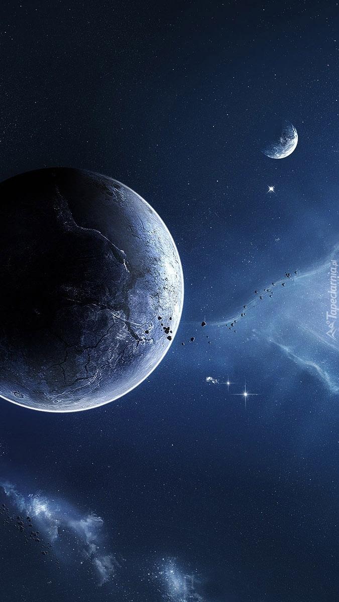Planeta i gwiazdy w kosmosie