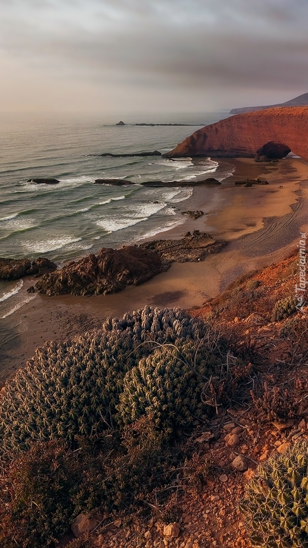 Plaża Lagzira i skała w Maroku