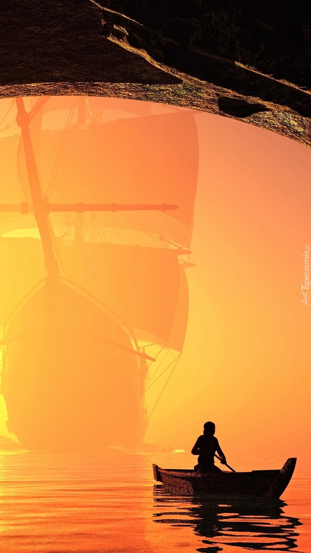 Podróż łódką o zachodzie słońca