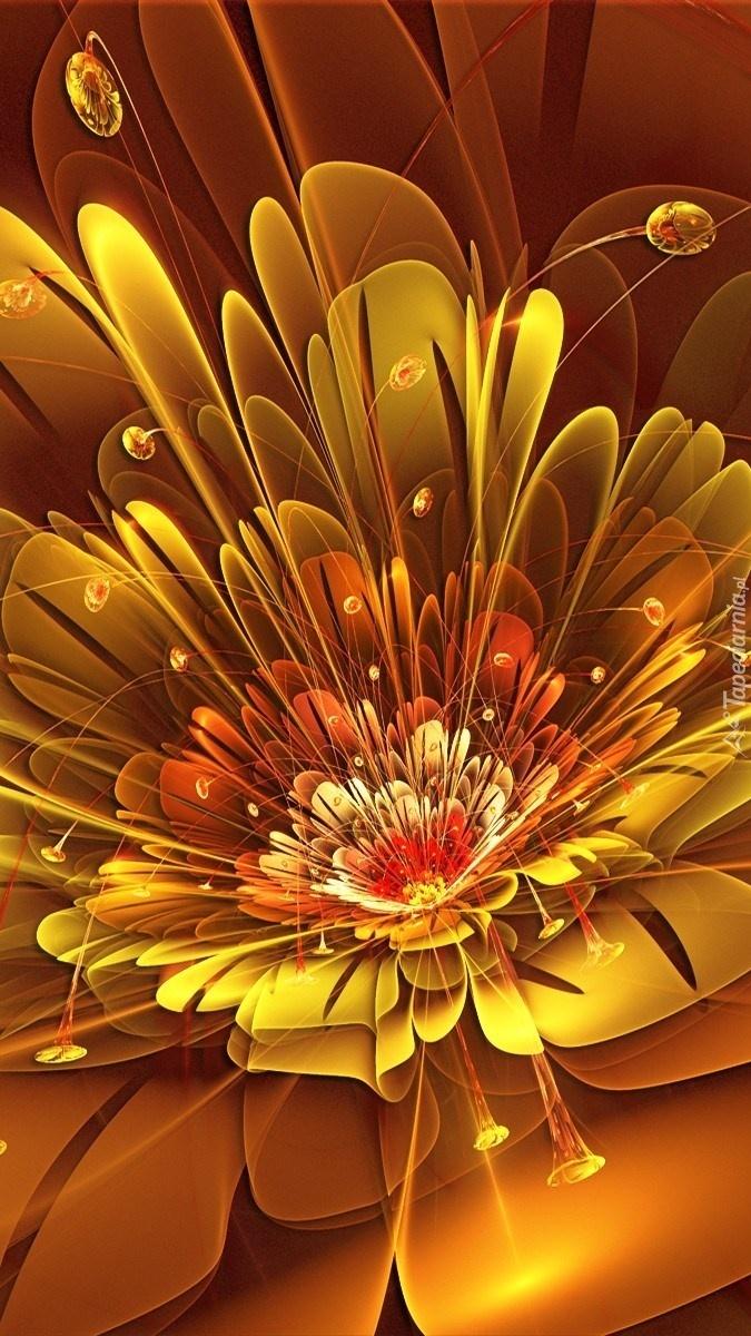 Pomarańczowa kwiecista abstrakcja