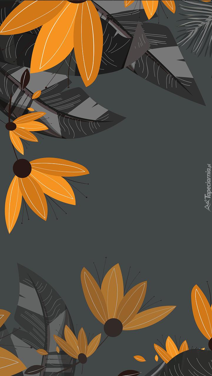 Pomarańczowe kwiaty i liście w grafice