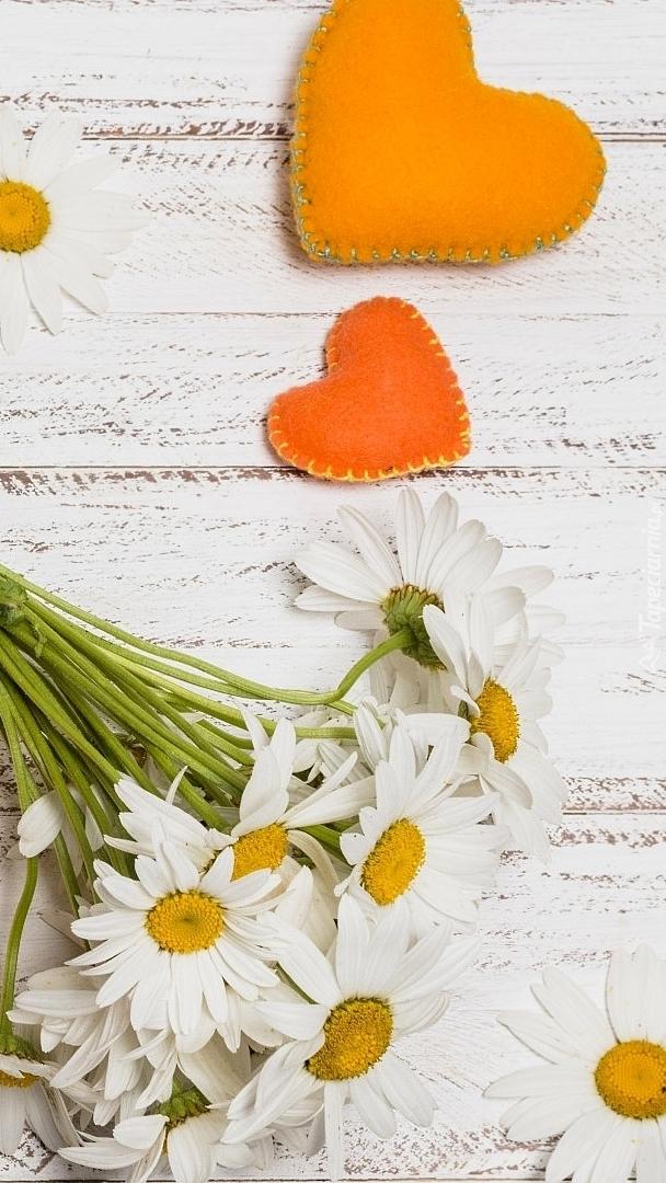 Pomarańczowe serca obok margerytek