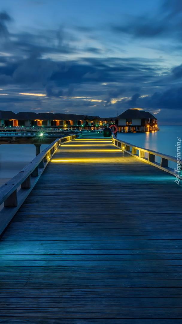 Pomost z domkami na Malediwach