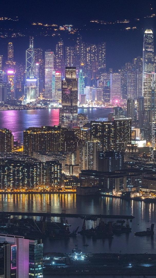 Port Victoria Harbour i panorama Hongkongu