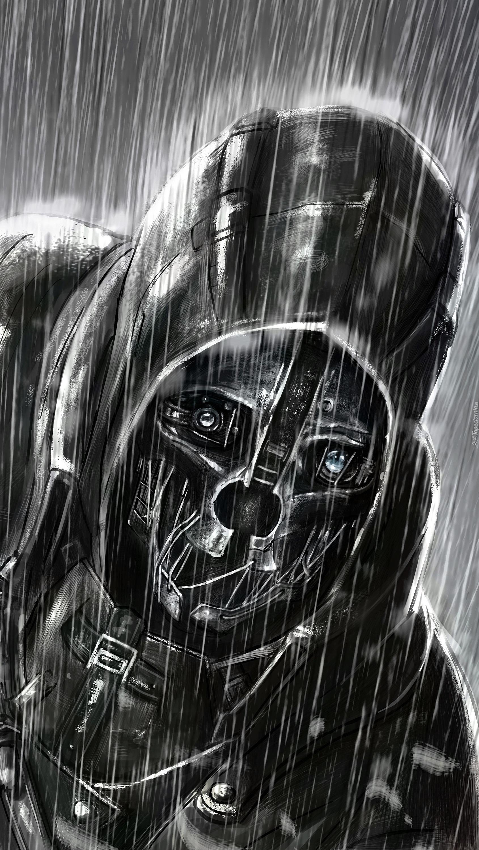 Postać z maską w deszczu