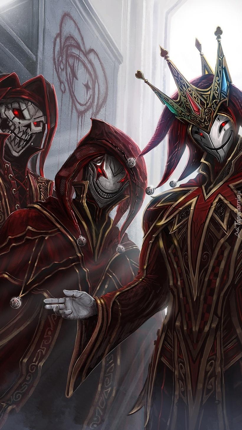 Postacie klaunów w maskach