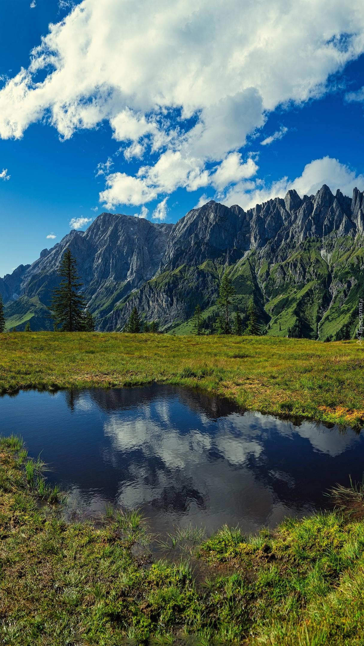 Potok i góry w tle