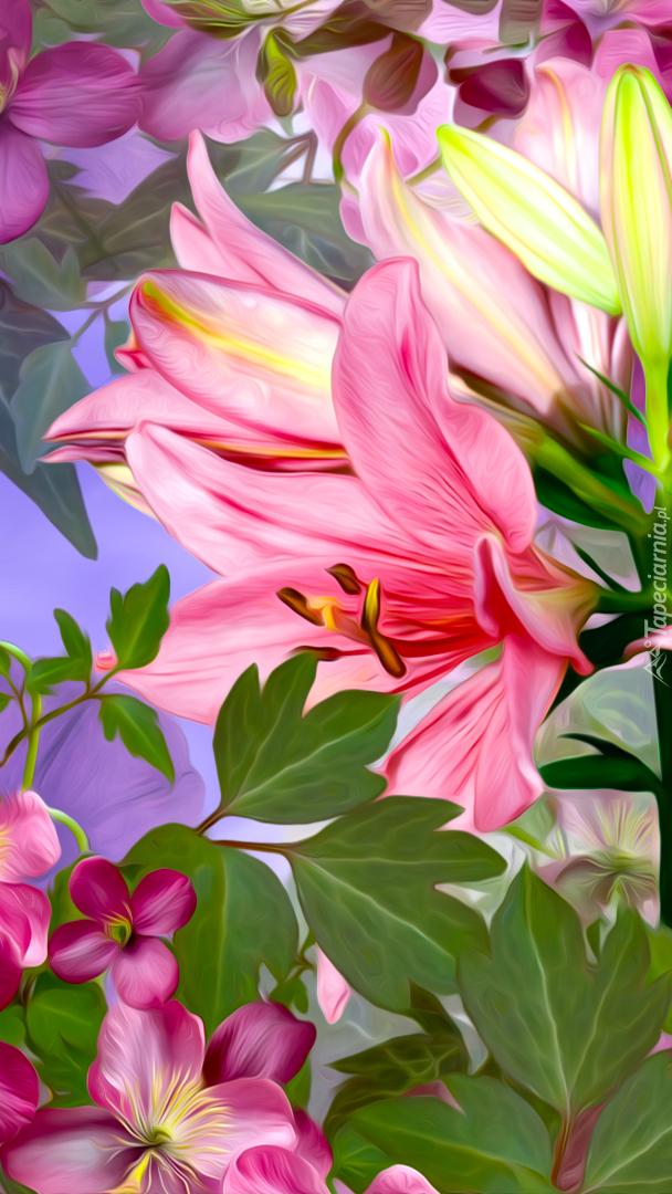 Powojniki z liliami w grafice