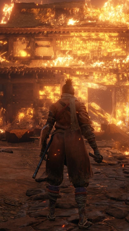 Pożar w grze Sekiro Shadows