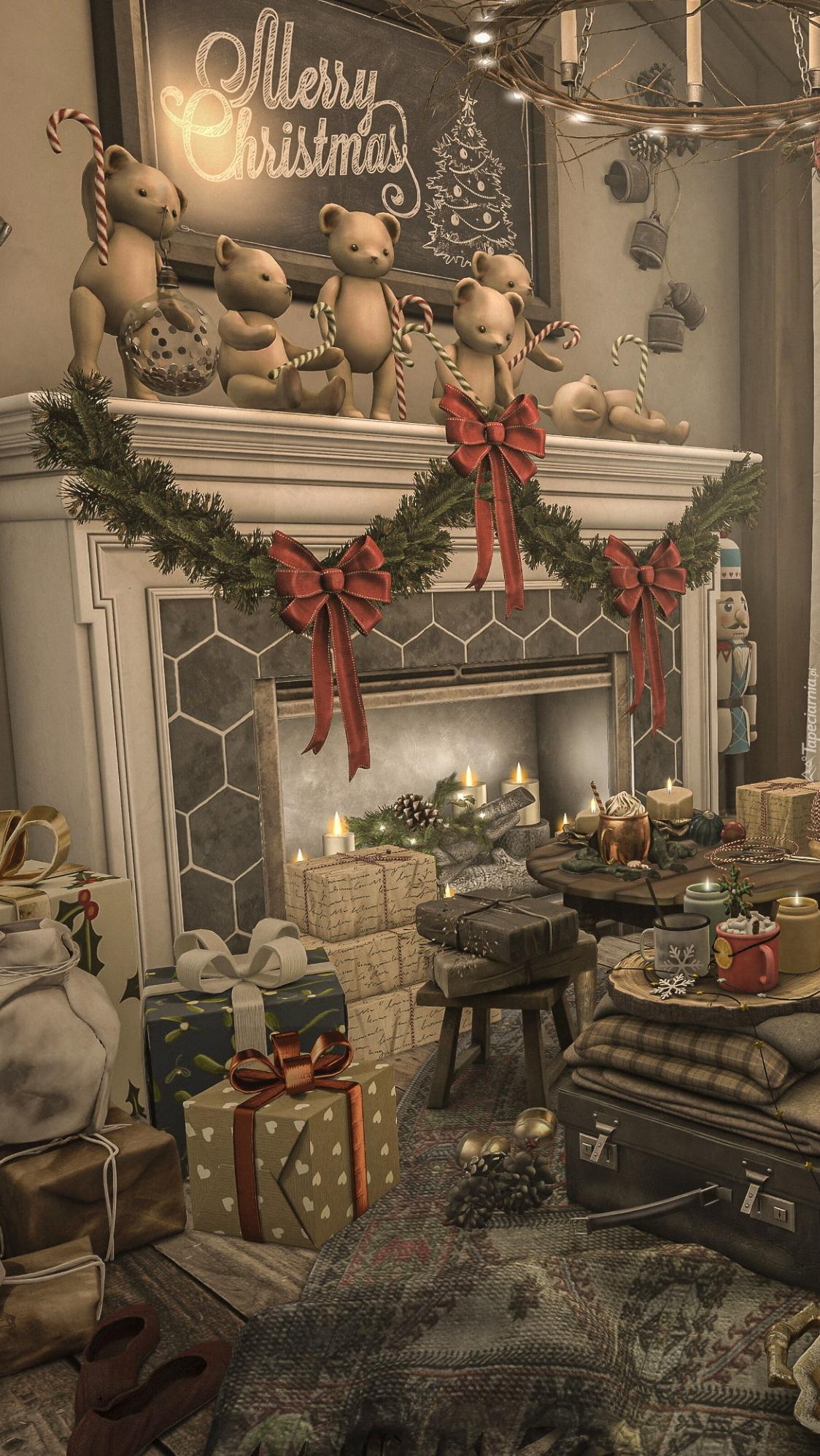 Prezenty obok kominka ze świąteczną girlandą