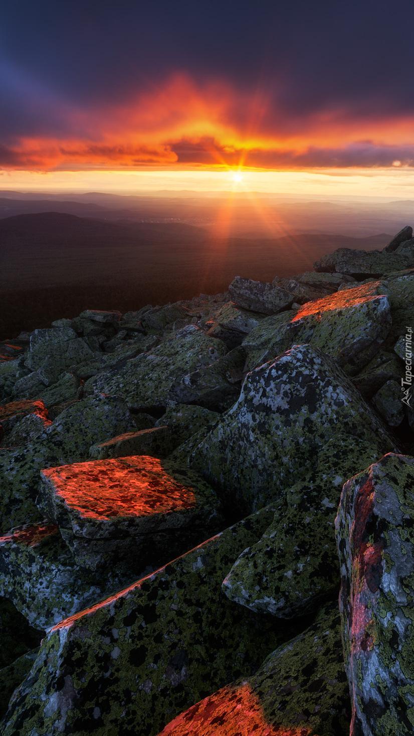 Promienie słońca na omszałych kamieniach