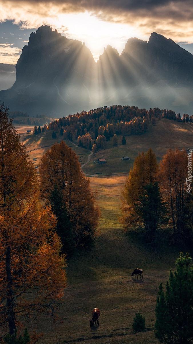 Promienie słońca nad Dolomitami