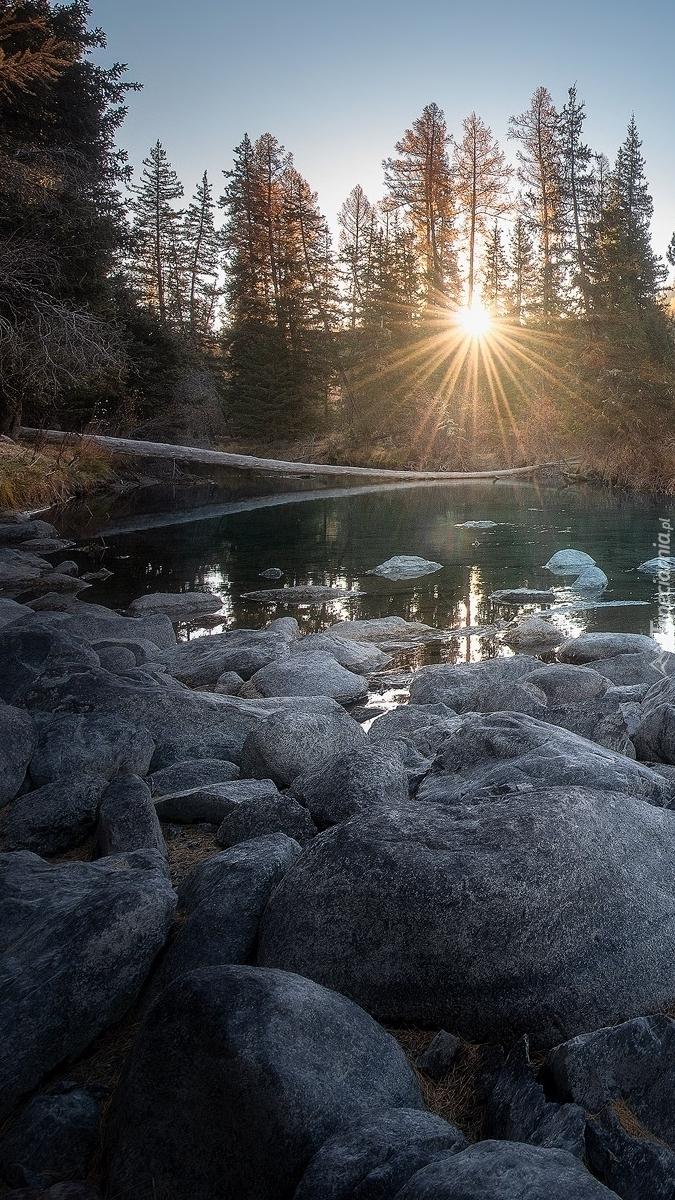 Promienie słońca nad jeziorem